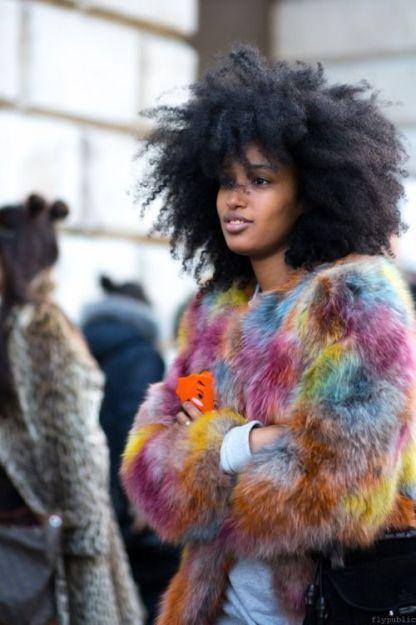 Black woman faux fur