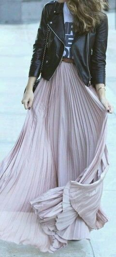 Long skirt and biker jacket